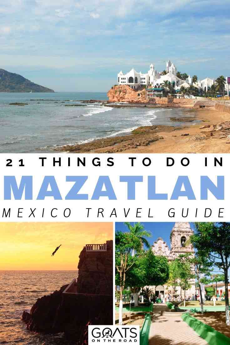 beach in Mazatlan with text overlay 21 things to do