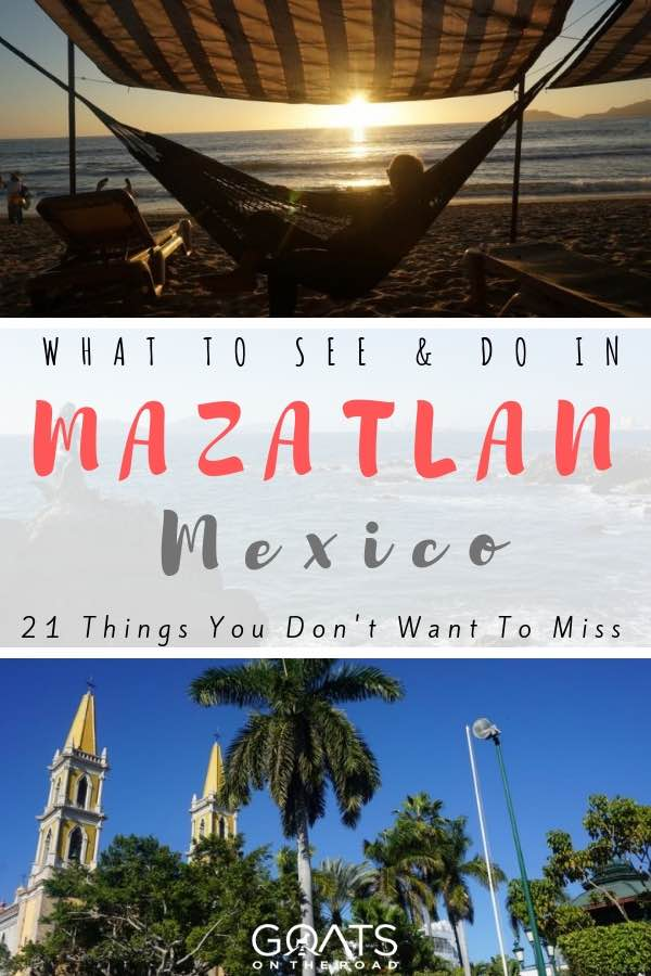 sunset at the beach in Mazatlan Mexico with text overlay