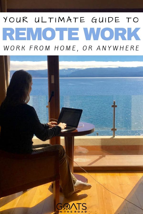 working remotely with an ocean view with text overlay
