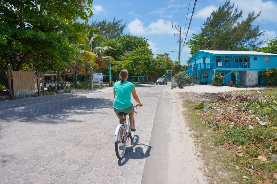 cycling on one of the best beaches in the caribbean ambergris caye belize