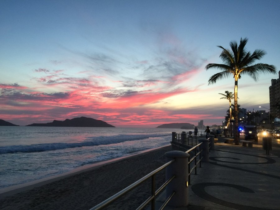 sunset at the malecon in mazatlan