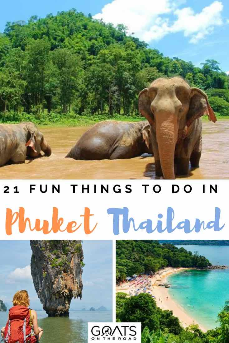 elephant sanctuary and beach in phuket thailand with text overlay