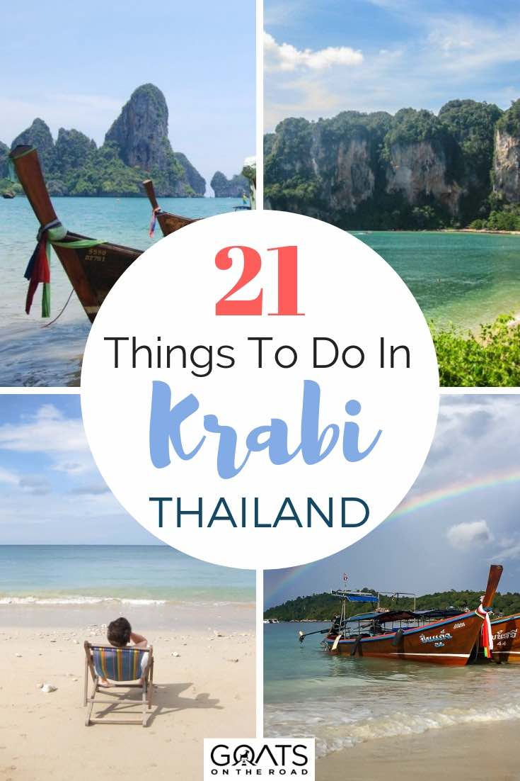 various tropical beaches in krabi thailand with text overlay