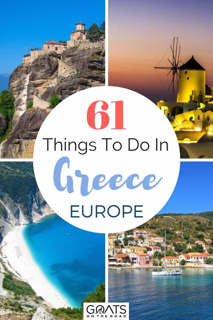 various things to do in Greece with text overlay