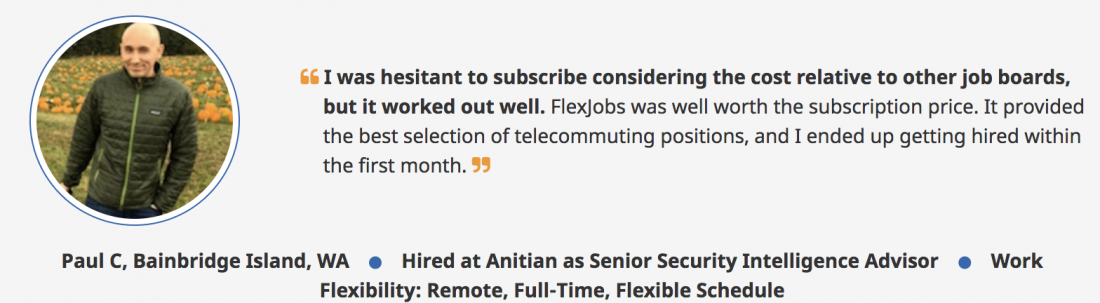 review of flexjobs company with testimonials