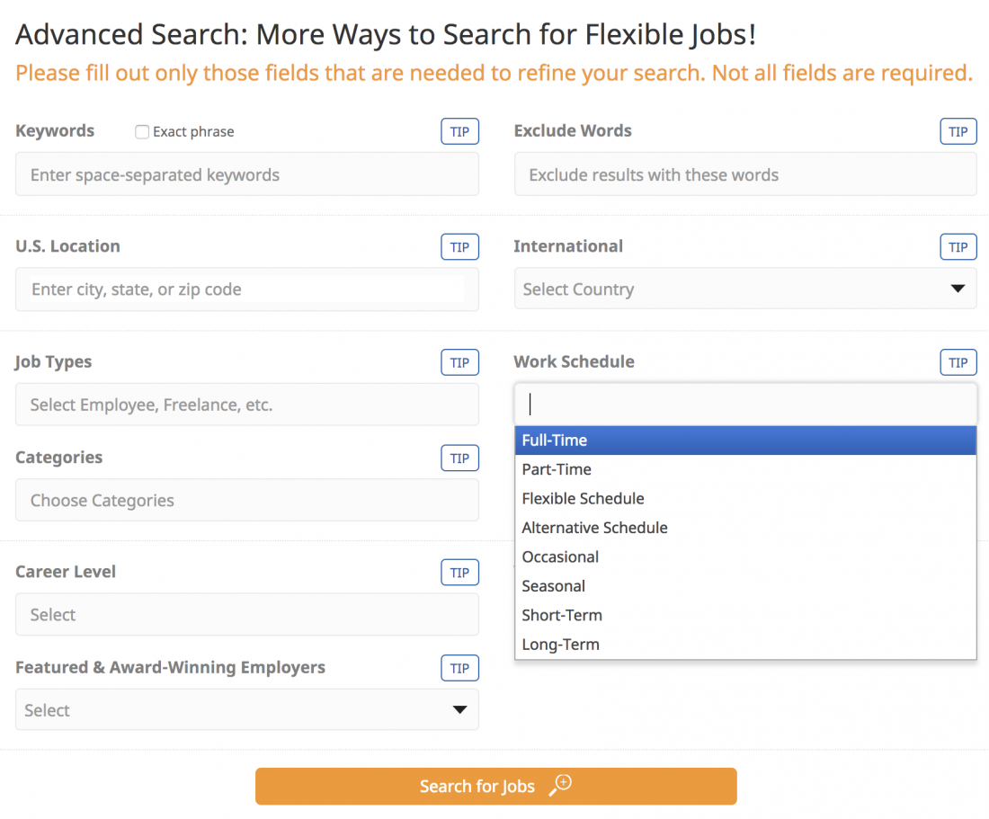 using the advanced search feature flexjobs review