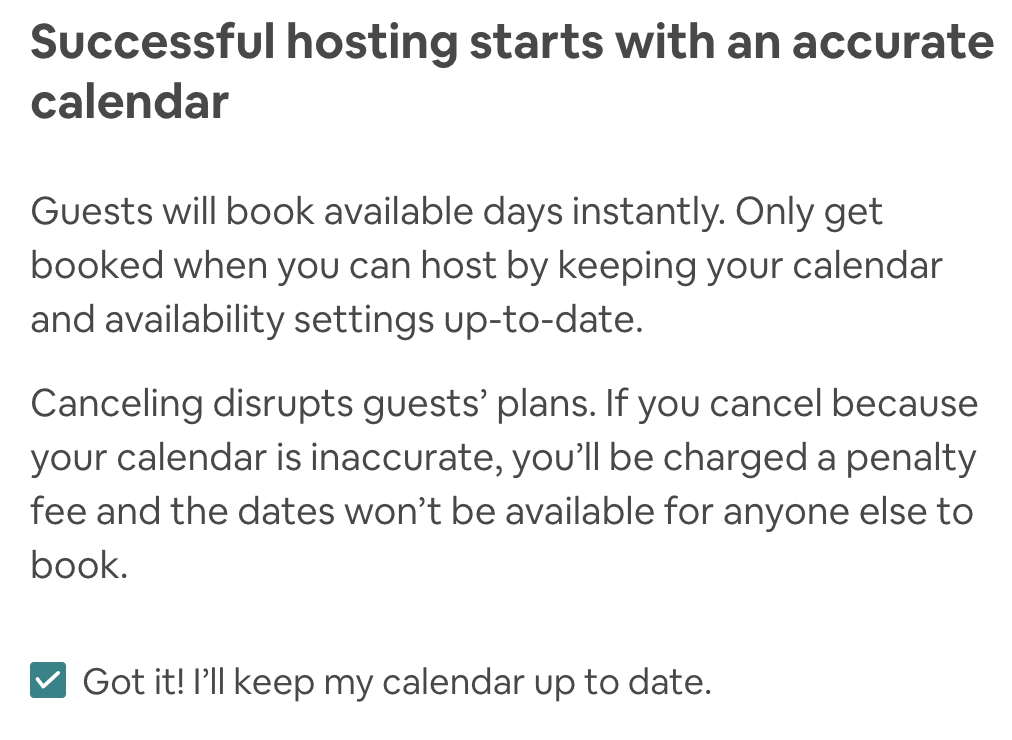 making your calendar as an air bnb host