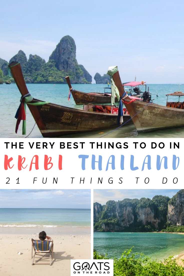 boats and beautiful beaches in krabi thailand with text overlay