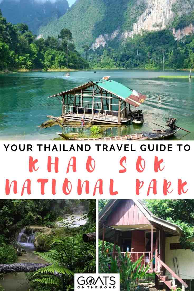 jungle waterfall and rainforest in khao sok national park with text overlay
