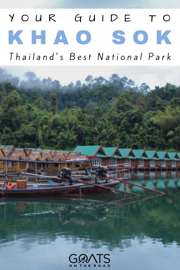overwater bungalows in Khao Sok National Park with text overlay