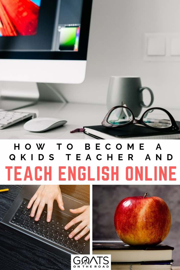 working on a laptop with text overlay how to become a qkids teacher and teach english online