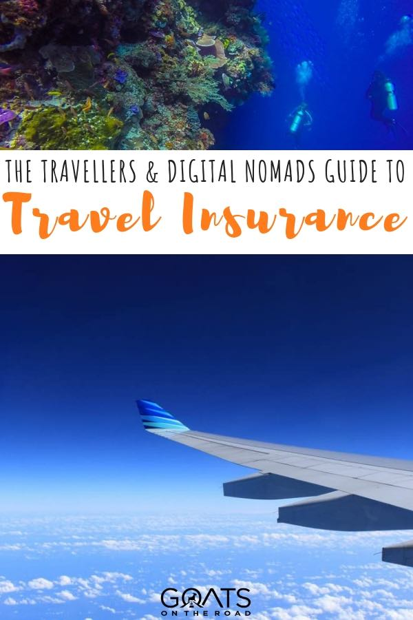 view from the plane window looking out at the wing with text overlay the digital nomads guide to travel insurance