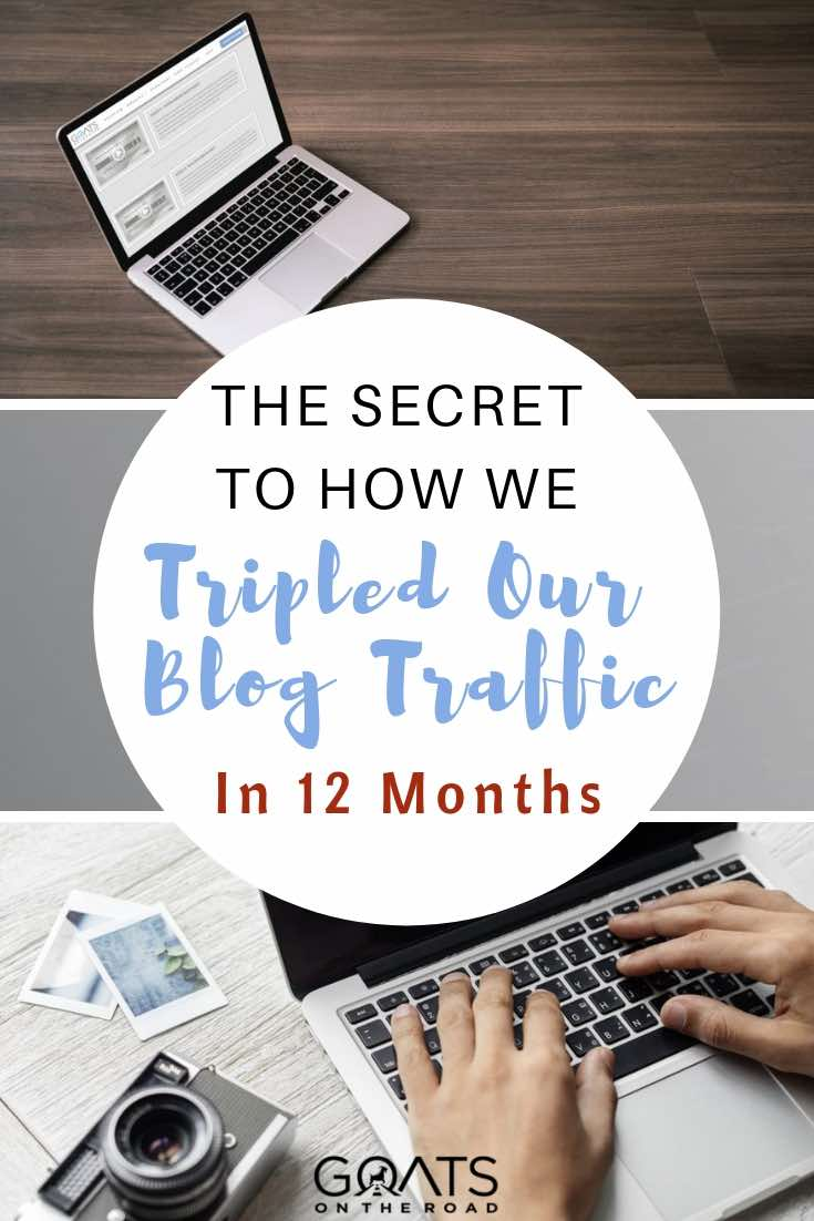 working on laptop on blog with text overlay how we tripled our blog traffic