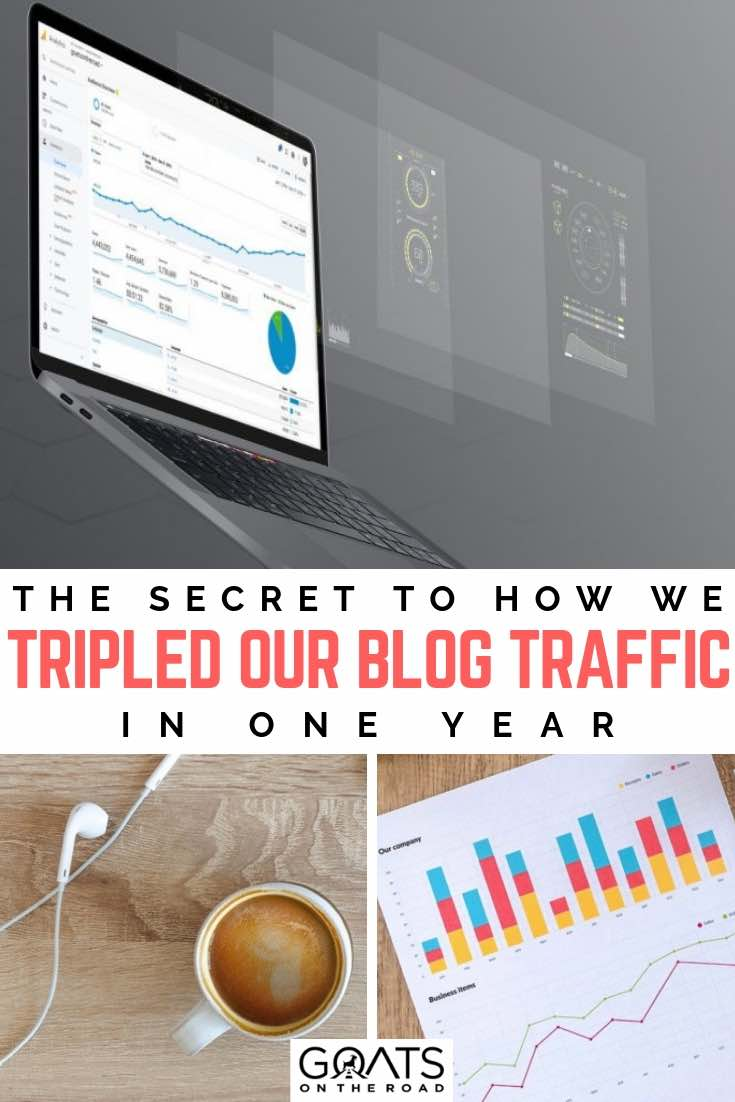 laptop with website traffic with text overlay how to increase your blog traffic