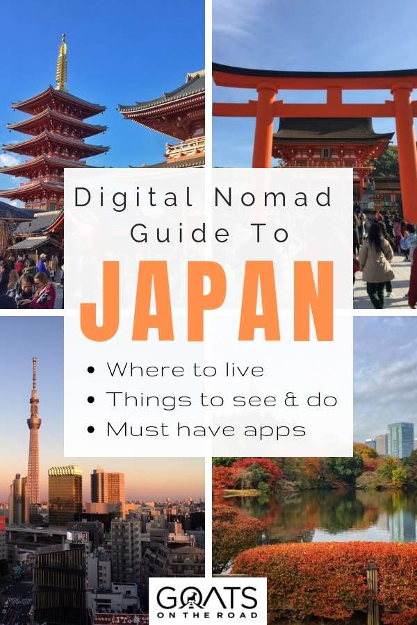 various temples in japan and city landscape with text overlay digital nomad guide to japan