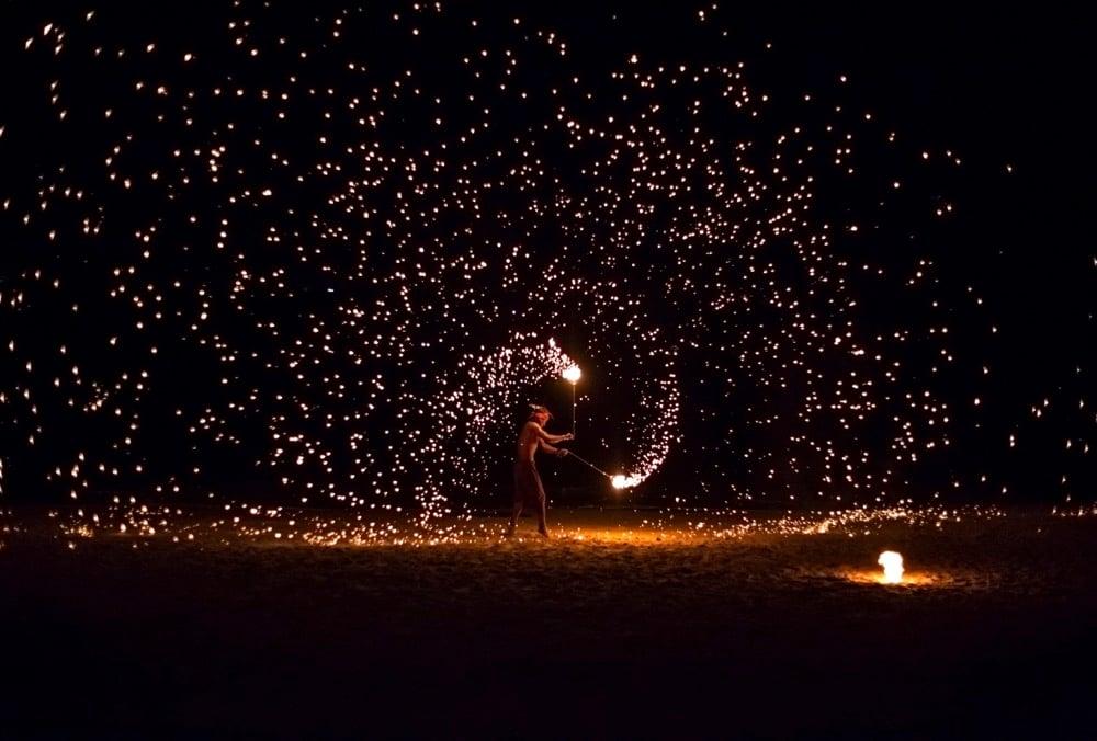 fire twirling in koh lanta thailand
