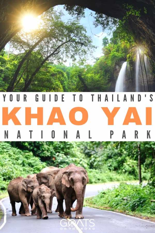 waterfalls and asian elephants with text overlay your guide to thailands khao yai national park