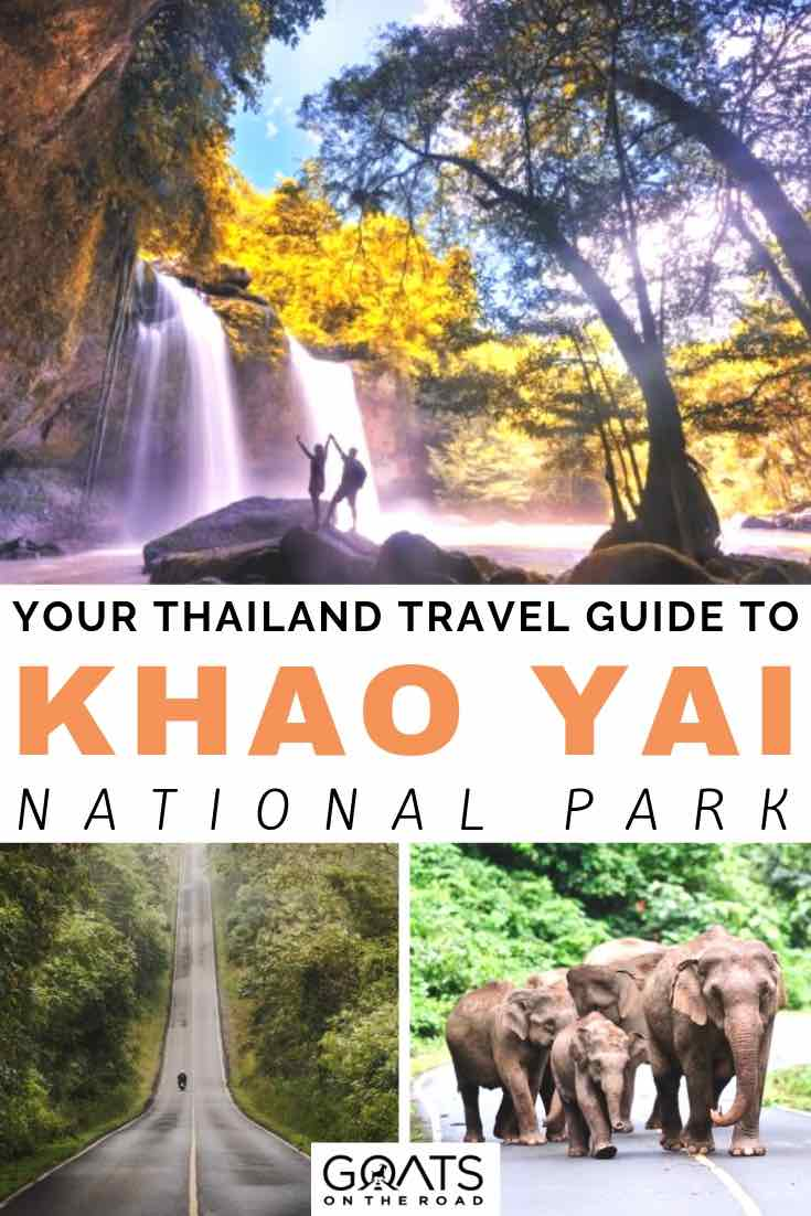 couple standing infront of a large waterfall with text overlay your thailand travel guide to khao yai national park
