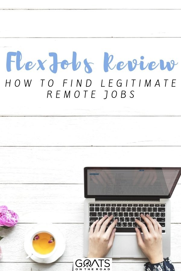 laptop and coffee with text overlay flexjobs review
