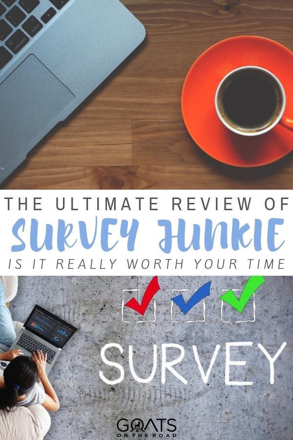girl completing surveys with coffee with text overlay the ultimate review of survey junkie