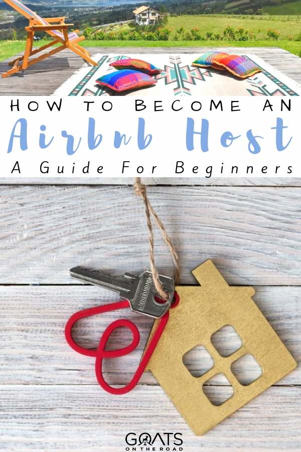 airbnb house key with text overlay how to become an airbnb host