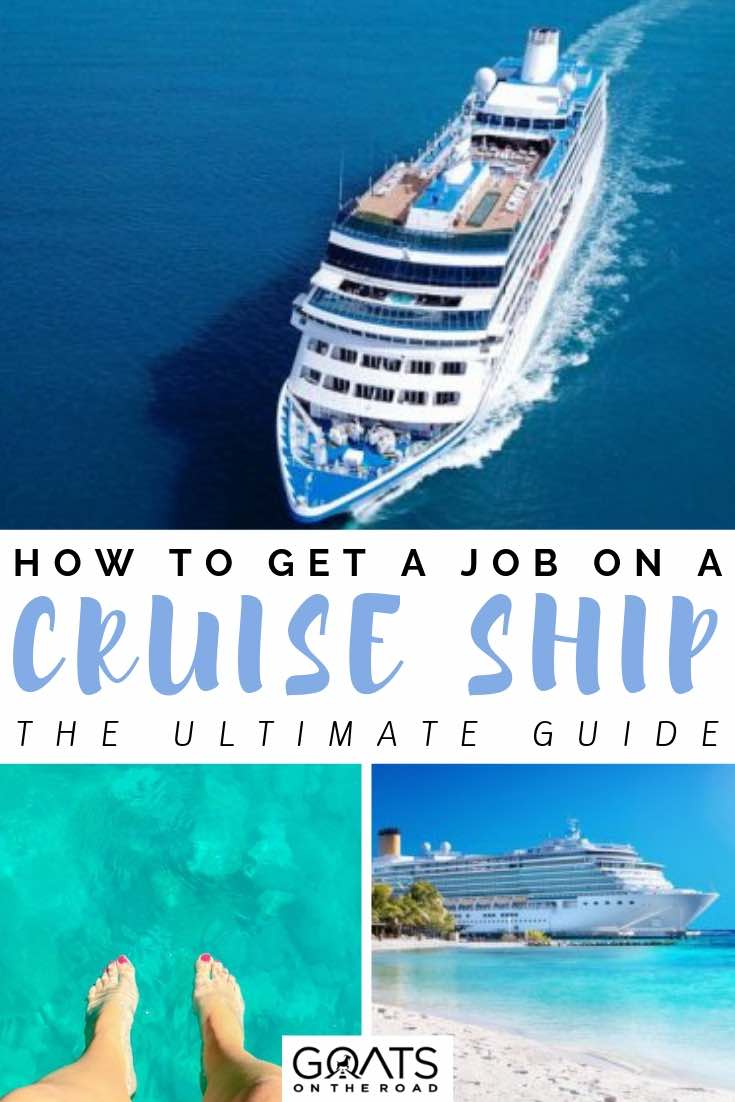 cruise ship crossing the ocean with text overlay how to get a job on a cruise ship