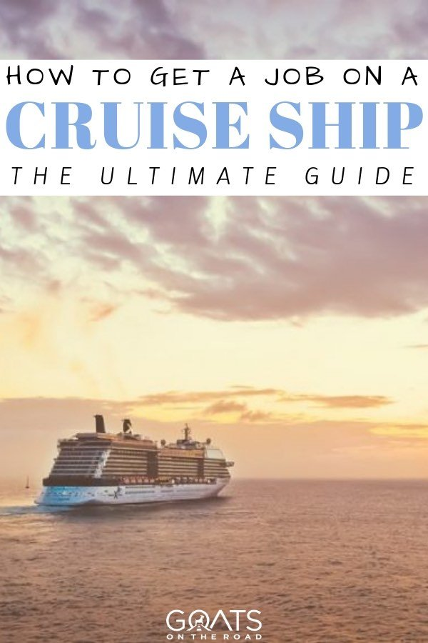 cruise ship next to the sunset with text overlay how to get a job on a cruise ship