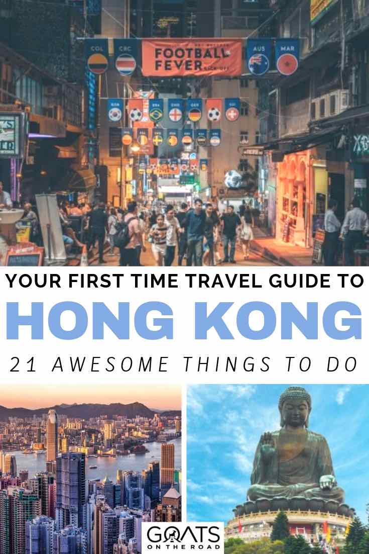 hong kong night market with text overlay your first time travel guide to hong kong