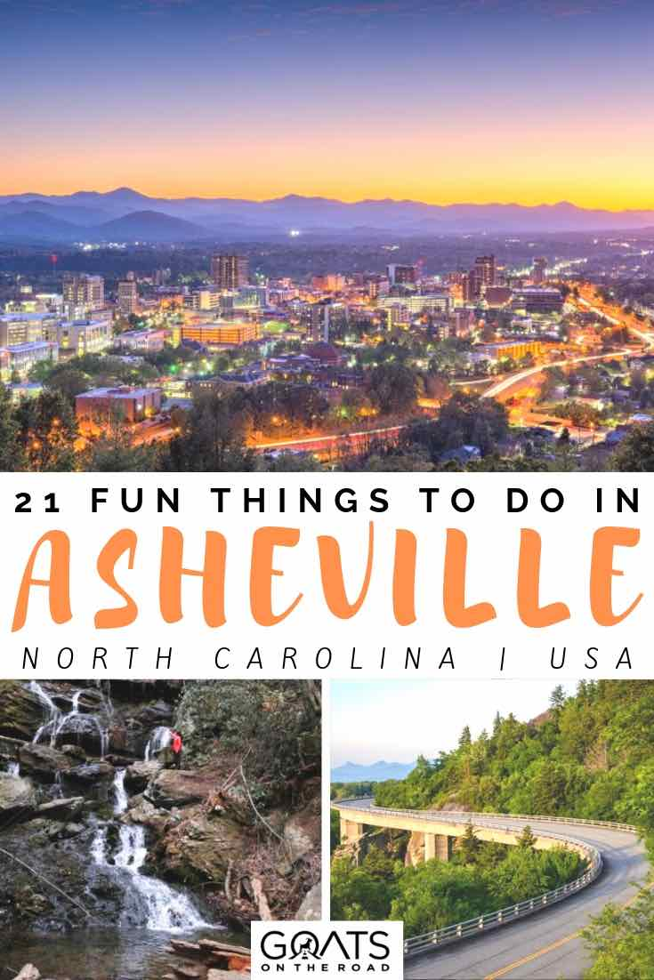 skyline and waterfall with text overlay 21 fun things to do in asheville
