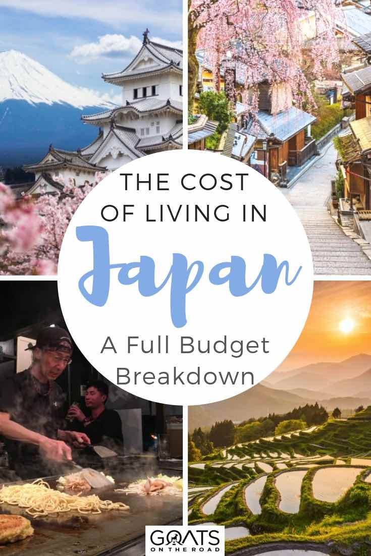 top places to visit in japan with text overlay the cost of living in japan
