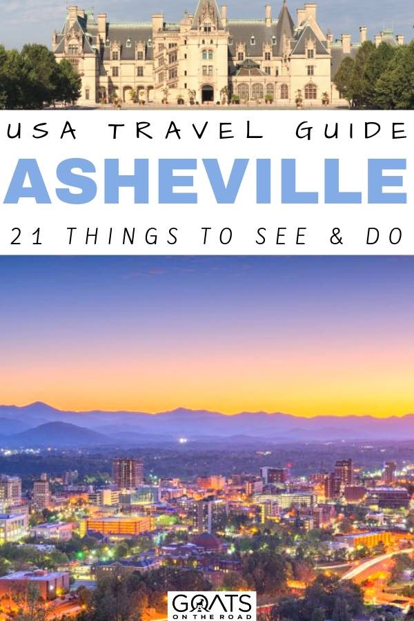 city skyline with text overlay usa travel guide asheville