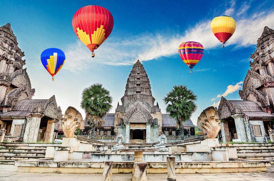 hot air balloons over angkor wat