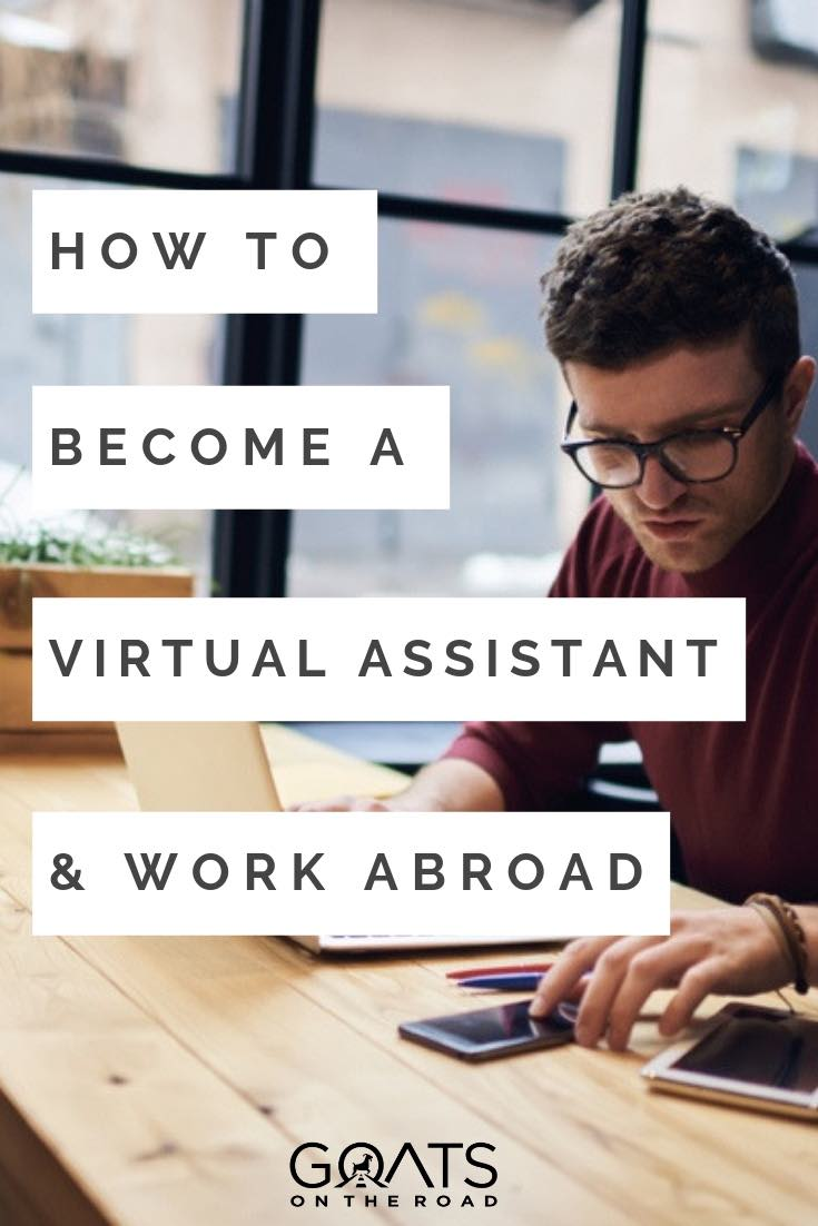 man working remotely on a laptop with text overlay how to become a virtual assistant and work abroad