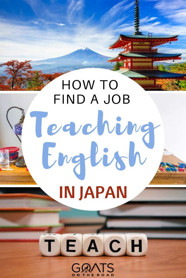 temple in japan and teach letters on dice with text overlay how to find a job teaching english in japan