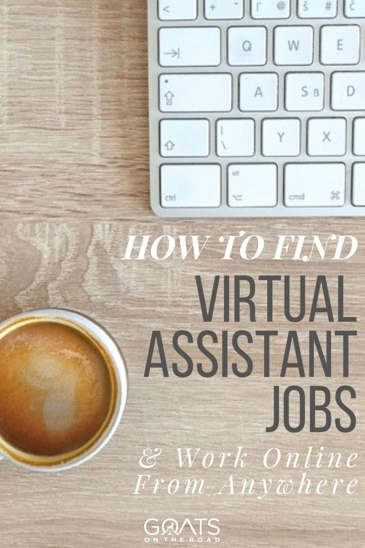 keyboard and coffee with text overlay how to find virtual assistant jobs