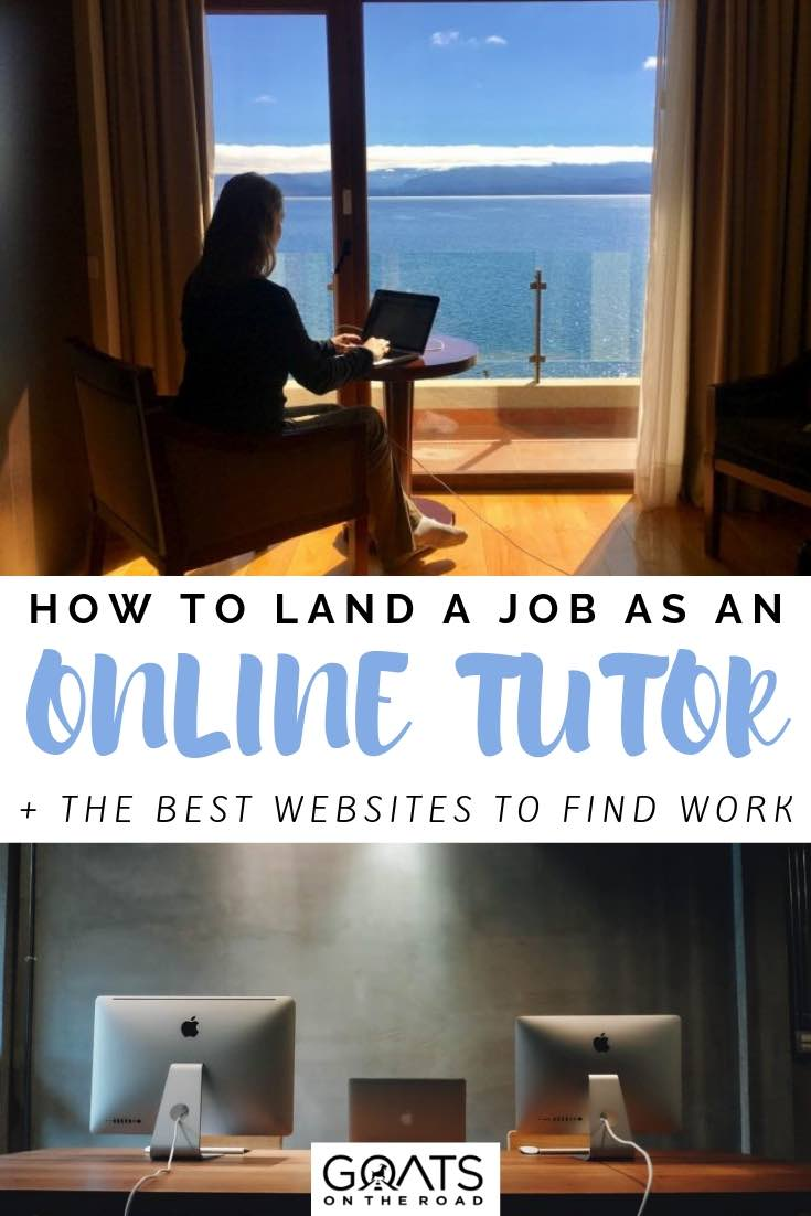 working on laptop with an ocean view with text overlay how to land a job as an online tutor