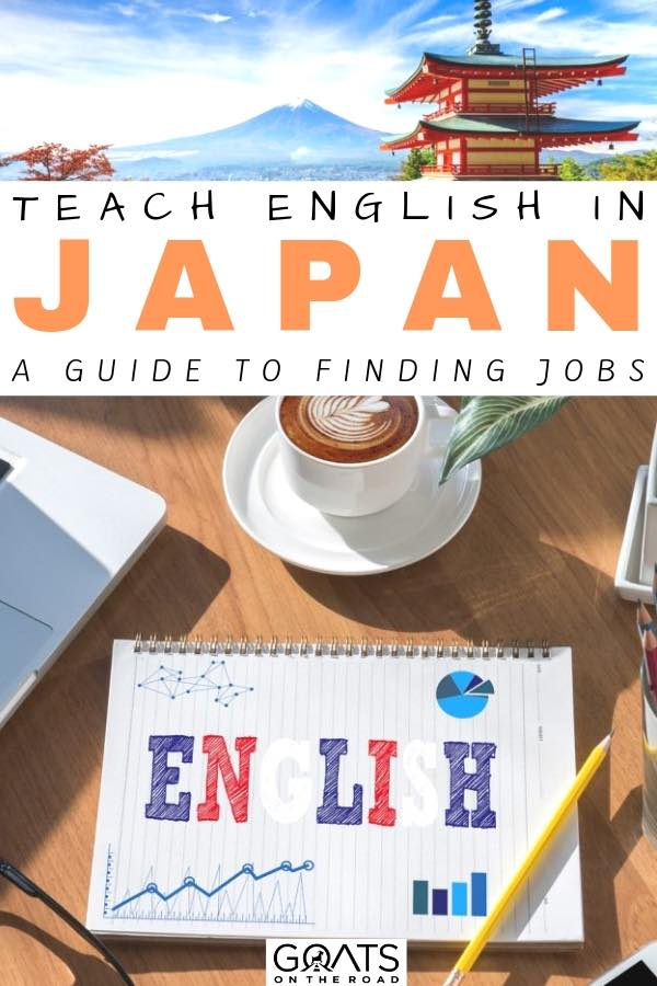 the word english coloured in on a pad with text overlay teach english in japan a guide to finding jobs