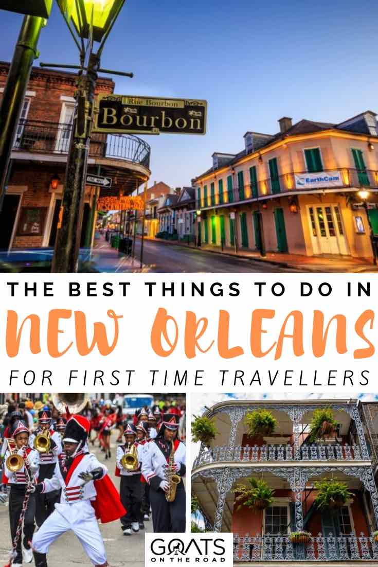 bourbon street and mardi gras with text overlay the best things to do in new orleans