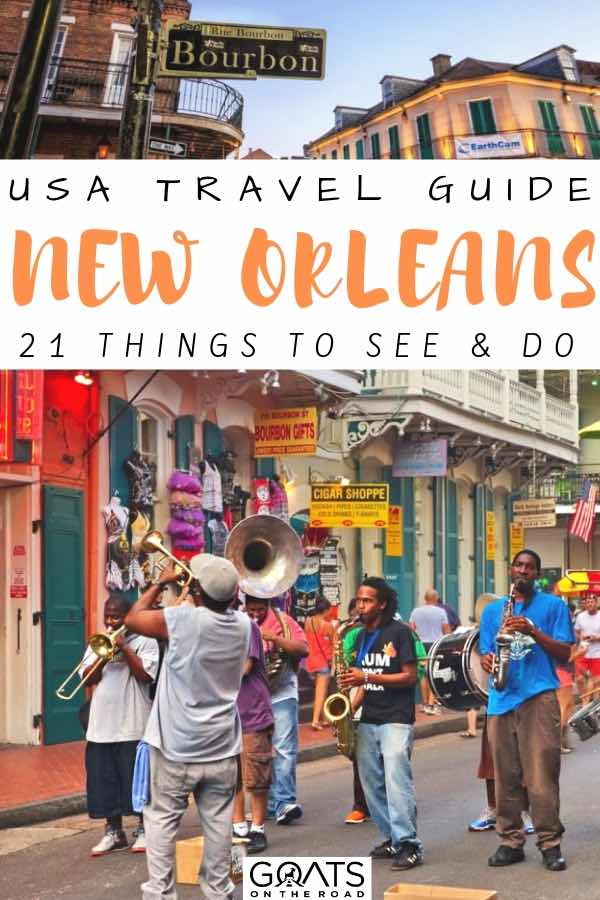 jazz street band and bourbon street with text overlay USA travel guide to new orleans