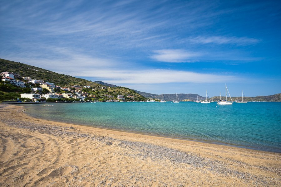 swimming at elounda beach crete island