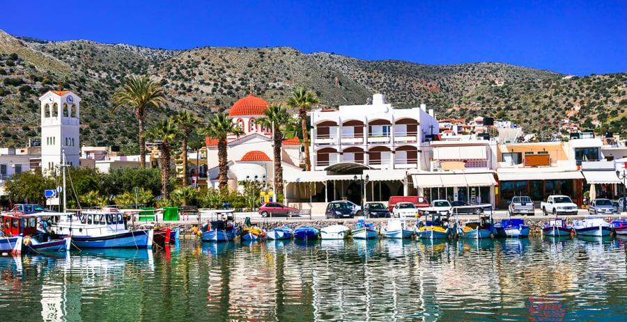 elounda crete town harbour