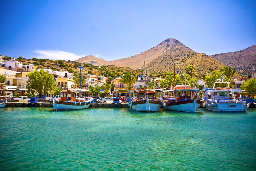 elounda greece boats in the harbour