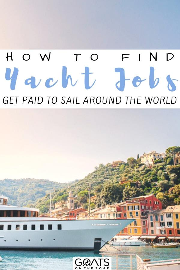 luxury boat with text overlay how to find yacht jobs