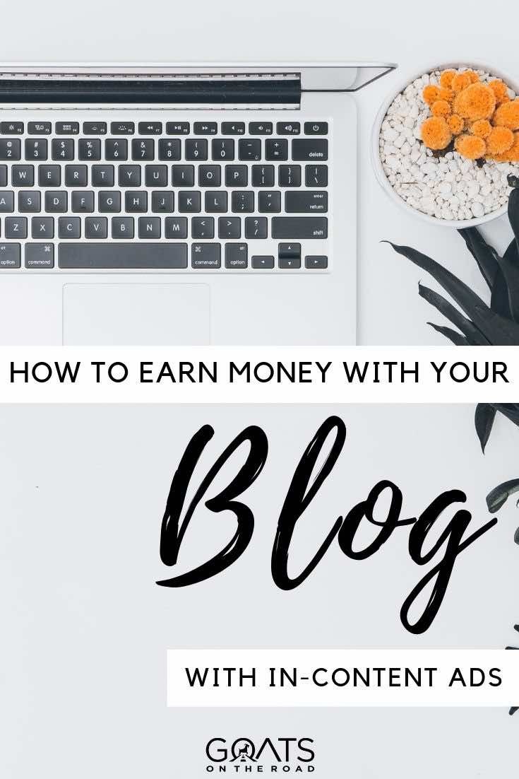 laptop and plant flatlay with text overlay how to earn money with your blog