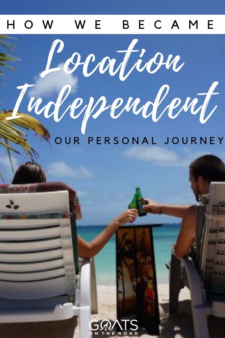 cheers in the caribbean with text overlay how we became location independent