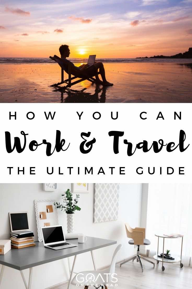 working on a laptop while the sun is setting with text overlay how you can work and travel the ultimate guide