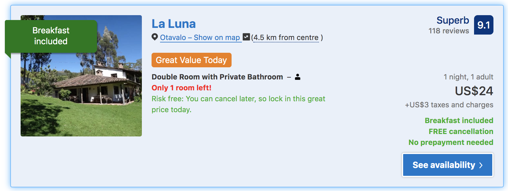where to stay in otavalo la luna guesthouse