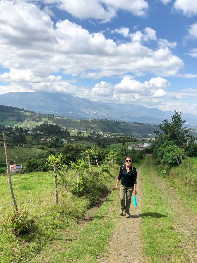 walking around the farmland in otavalo ecuador