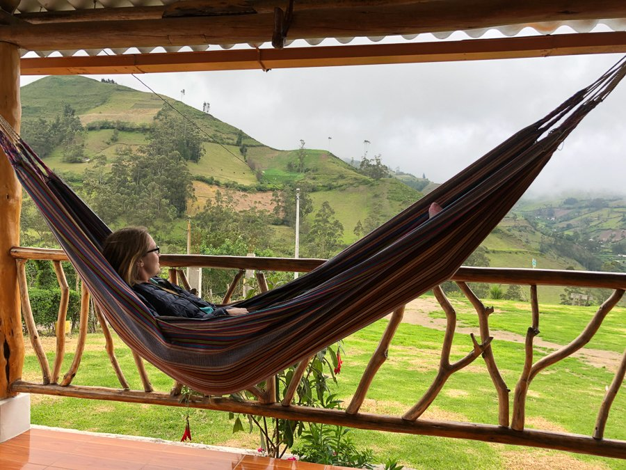 hammock at a hostel in quilotoa loop isinlivi
