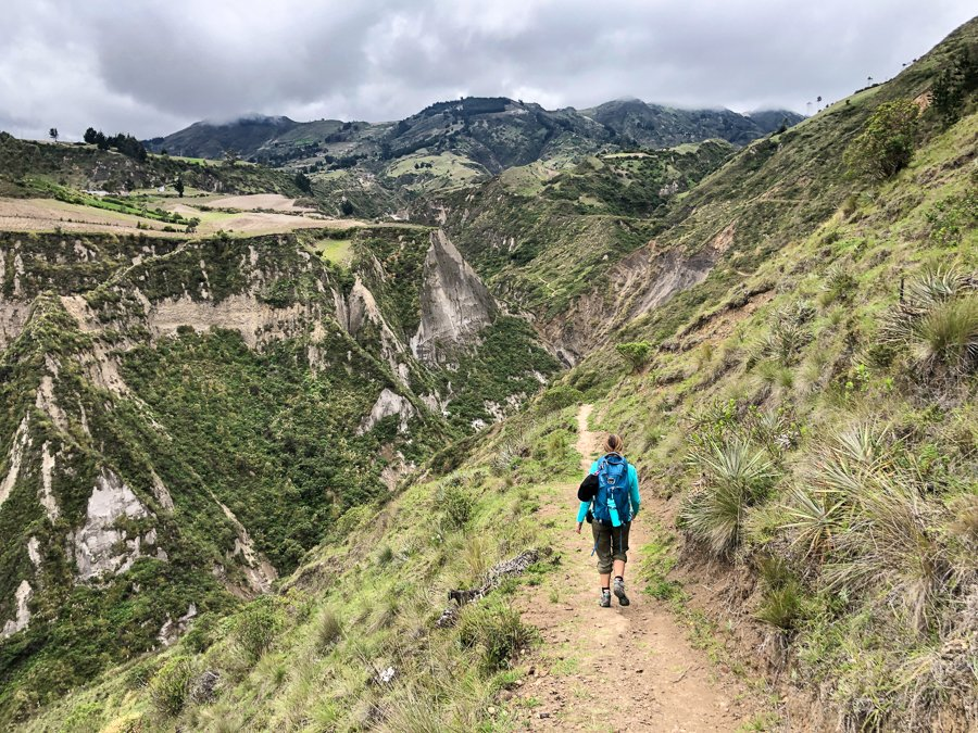 hiking from chugchilan to quilotoa lake on the canyon